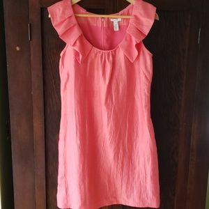 J. Crew linen cocktail dress coral, with pockets